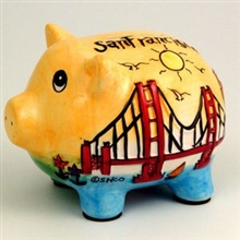 San Francisco Puff Hand Painted Yellow Piggy Bank