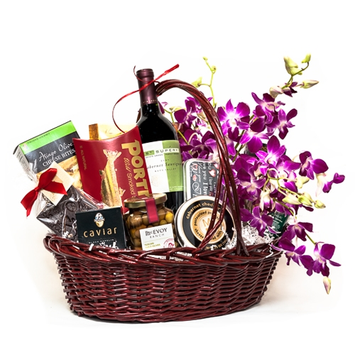 Decadent Gourmet Wine and Caviar Basket