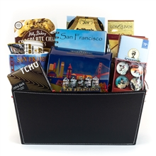 Gourmet Black Stitched Gift Basket - Corporate Gifts By San Francisco Gift Baskets