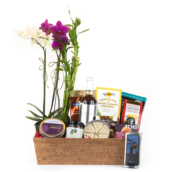 Ultimate Luxury Wine & Orchid Basket