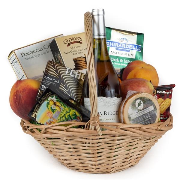 Baby Gift Baskets San Francisco : Wine and fruit gift basket