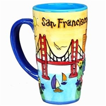San Francisco Puff Hand Painted Yellow Java Mug