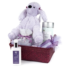 Lavender-Stuffed Animals Gift Basket