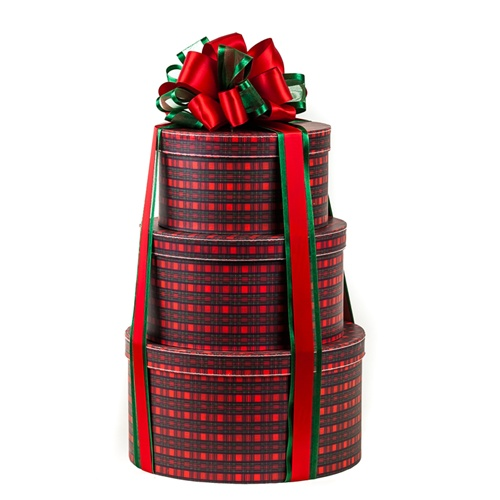 Three Tier Classic Tartan Plaid Gift Tower