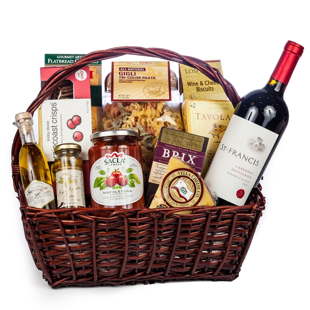 Italian Evening Gift Basket Wine And Champagne Gifts By San Francisco Gift Baskets