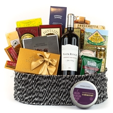 Godiva chocolate and wine Gift Basket, Silver Wine and Cheese Gift Basket